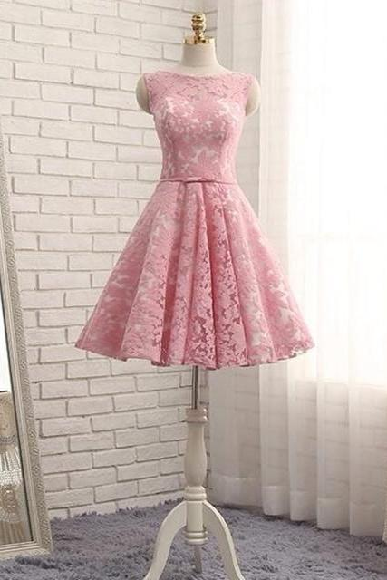 pink homecoming dress,short prom dress,elegant party dress,lace homecoming dress,New Arrival Lace Short Cocktail Dresses, Short Party Gowns .Mini Graduation Dresses
