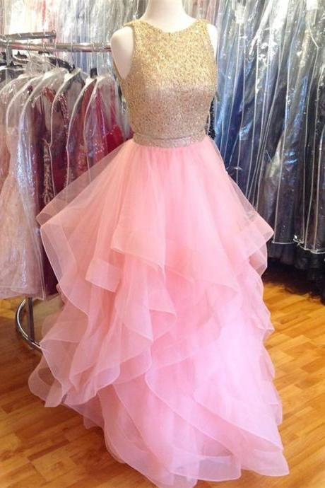 pink prom dress,two piece prom dress,ruffles dress,ball gowns prom dress, Luxury Beaded Long Prom Dresses, Formal Gowns , 2 Pieces Cocktail Dress, Wedding Party Gowns ,