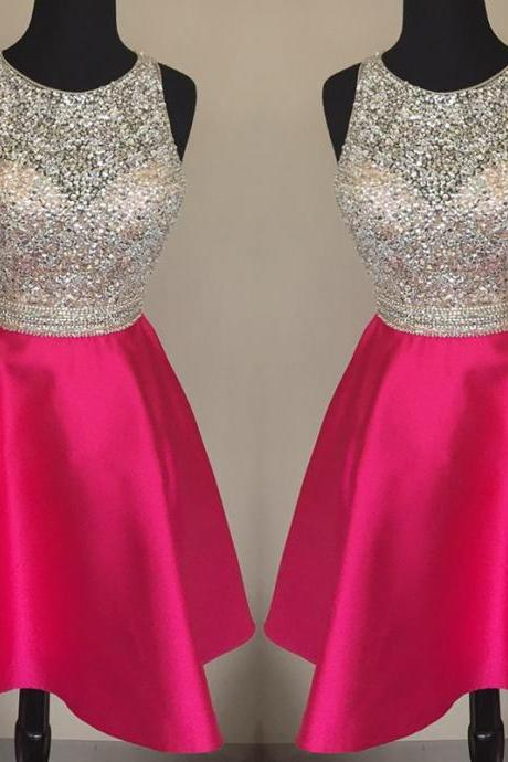 jewelry neck dress,sequins beaded homecoming dress,short prom dresses 2018,pink homecoming dress,Beaded Girls Gowns ,Wedding Guest Gowns .Short Graduation Dresses .