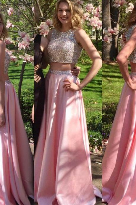 pink prom dress,two piece prom dress,sequins beaded dress,keyhole back dress,long prom dress,Luxury Beaded Party Gowns ,Shiny 2 Pieces Cocktail Dresses,Wedding Girls Gowns .