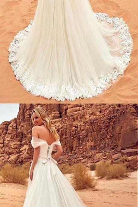 Tulle Off-the-shoulder Neckline Wedding Dress With Lace Appliques ,New Arrival White Lace Wedding Dresses,China Wedding Gowns ,A Line Women Gowns .