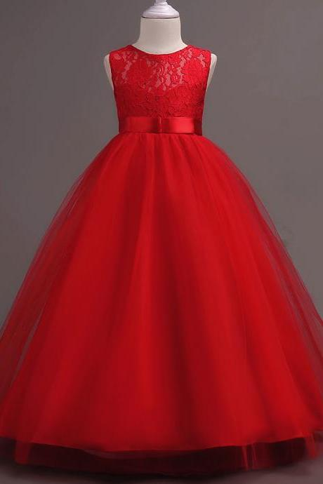 New Arrival Red Lace Flower Girls Dresses, Cheap Girls Gowns , Floor Length Girls Dress, Wedding Girls Gowns ,Plus Size Wedding Girls Dresses,Beauty Little Pageant Gowns .