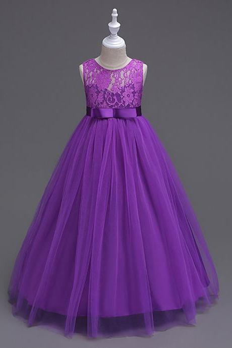 New Arrival Lace Flower Girls Dresses, Cheap Girls Gowns , Floor Length Girls Dress, purple Wedding Girls Gowns ,Plus Size Wedding Girls Dresses,Beauty Little Pageant Gowns .