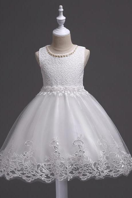 New Arrival White Flower Girls Dresses , Beaded Girls Gowns ,Wedding Girls Gowns ,Short Child Gowns ,Cute Scoop Flower Party Gowns ,Short Child Dress, Little Giros Gowns ,Pricess Flower Gowns , Vintage Girls Gowns .