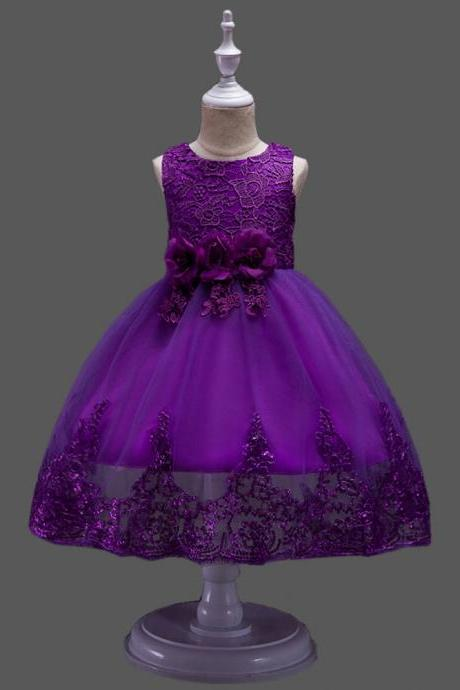 New Vestido De Flower Girls Dresses ,Off Shoulder Purple Lace Wedding Flower Girls Gowns ,Fuchsia Gowns .Pricess Flower Girls Dresses ,Little Girls Gowns .Hand Made Flower Kids Gowns ,Sexy Wedding Girls Party Gowns . Fuch