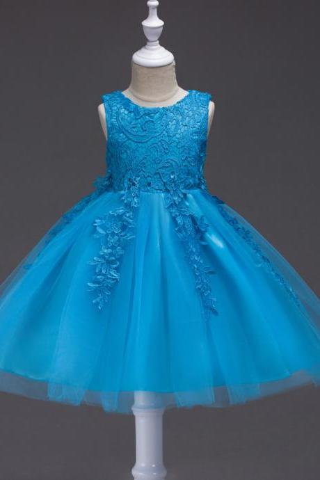 Cheap Lace Wedding Flower Dresses, Blue Tulle Short Cocktail Dresses Little Girls Gowns ,Tulle Kids Gowns ,Pageant Gowns , Short Flower Girls Dresses .