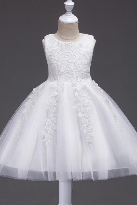 Cheap Lace Wedding Flower Dresses, White Tulle Short Cocktail Dresses Little Girls Gowns ,Tulle Kids Gowns ,Pageant Gowns , Short Flower Girls Dresses .