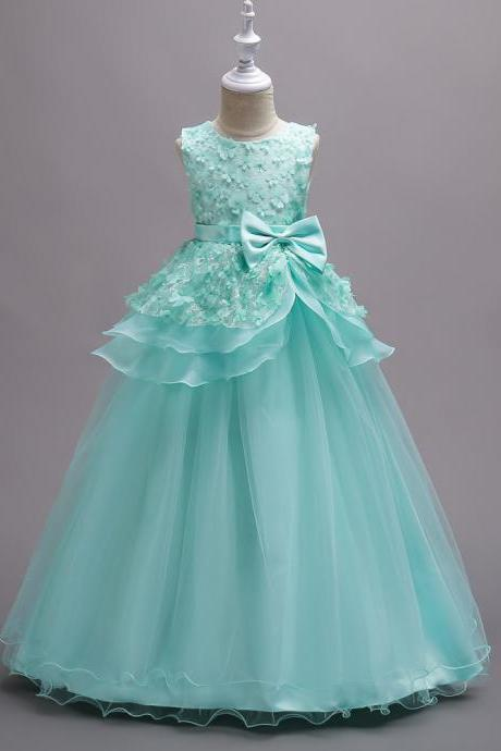 New Arrival White Lace Flower Girls Dresses Green Party Girls Gowns ,Purple Gowns .2018 Little Girls Pageant Gowns ,Wedding Kids Gowns , Girls Pageant Gowns ,Tull Gowns ,Cheap Flower Gowns .