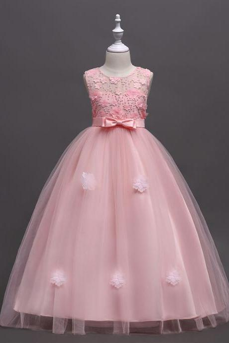 Wedding Flower Girls Dresses, Pink Flower Girls Dresses, Lace Flower Gowns ,Wedding Pageant Girls Dress, Scoop Kids Gowns ,Little Girls Party Gowns ,Formal Girls Gowns . Bow Girls GOWNS
