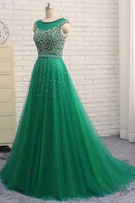Green Beaded Long Prom Dresses, Sexy Plus Size Wedding Party Gowns ,Scoop Girls Pagent Gowns , Sexy Beaded Women Party Gowns , Formal Gowns , Evening Dresses .