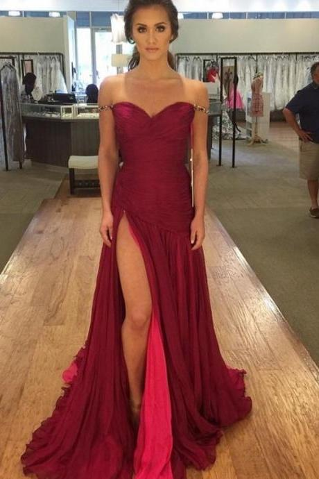 Off the Shoulder Straps Prom Dress with Slit,high slit red evening dress,2018 Sexy Burgundy Chiffon Long Prom Dresses, Off Shoulder Evening Dress, Wedding Party Gowns .