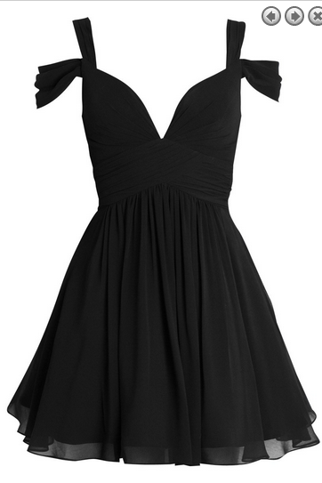 Black Off-The-Shoulder Plunge V Short Chiffon Homecoming Dress, Formal Dress, Short Bridesmais Dress, Navy Blue Chiffon Cocktail Dresses, Mini Party Gowns .