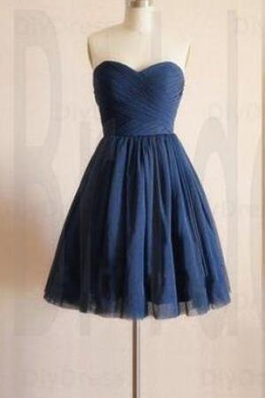 2018 Cute Short Homecoming Dresses,navy Blue Ruffle Short Cocktail Dress, Girls Party Gowns ,Sexy Women Gowns ,Wedding Party Gowns ,Short Evening Dress