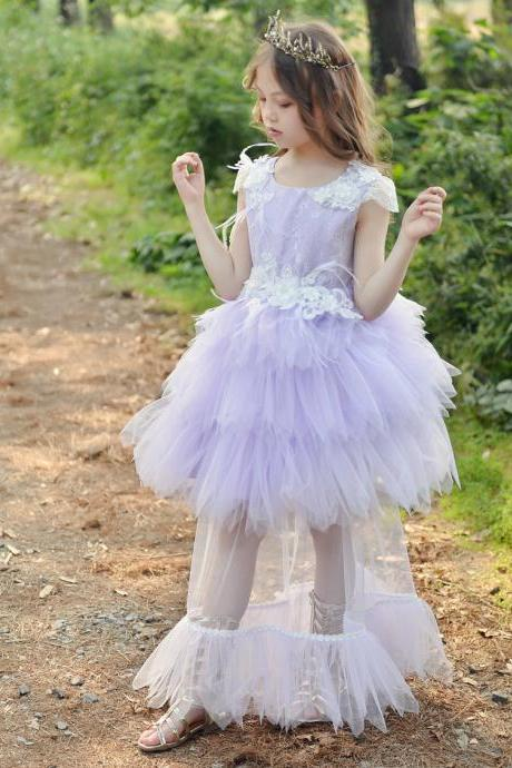 New Arrival Flower Girls Dresses,Two Pieces Wedding Girls Gowns , Lavender Tulle Girls Gowns ,Pricess Flower Girls Dresses, Flower Girls Dresses, Girls Pageant Gowns , Newly Cute Wedding Flower Gowns