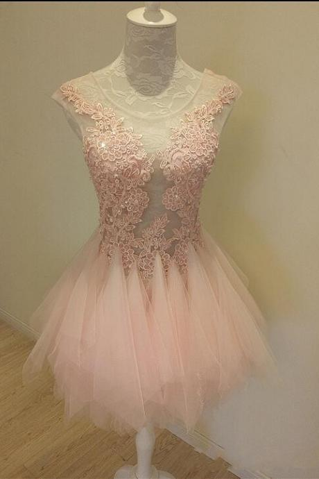 Sweet Pink Short Homecoming Dress, Vintage Tulle Short Prom Dress Plus Size ,2018 Lace Short Party Dresses, Sexy Sheer Short Cocktail Dresses, Plus Size Short Prom Party Dresses, Scoop Junior Party Dresses, Pink Lace Homecoming Dress 2018