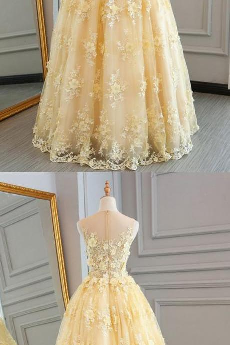 Yellow tulle lace prom dress, ball gown, 2018 prom dresse,Plus Size Sheer Long Prom Dresses, Wedding Party Gowns ,Formal Evening Dres,s Cheap Gowns