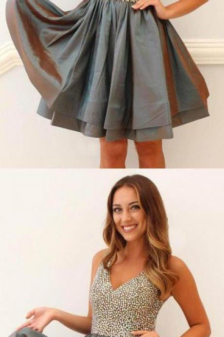 A-Line V-Neck Grey Taffeta Homecoming Dress with Beading,2018 Stunning Shiny Beaded Short Cocktail Dress, Women Girls Gowns , Shiny Gowns For Girls