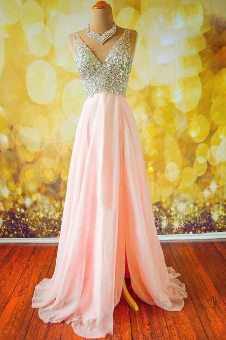 Luxury Beaded Crystal Long Prom Dresses, Sexy V-Neck Prom Dress, Long Prom Dress, Off Shoulder Evening Dress, Pink Chiffon Evening Dresses, Wedding Party Gowns .