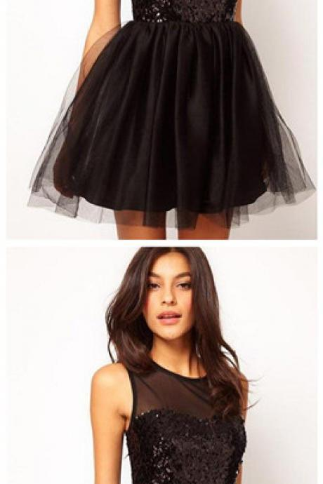 Homecoming Dresses Black Sleeveless Sequined Zippers Tulle Mini O-neck Gown,Black Tulle Short Prom Dress, Little Girls Cocktail Gowns ,Wedding Party Gowns For Teens.