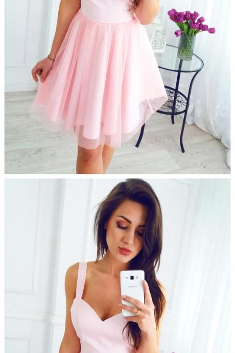 Short Pink Straps Sleeveless A-line Newest Homecoming Dress, short cocktail gowns , wedding party dress ,pink prom gowns