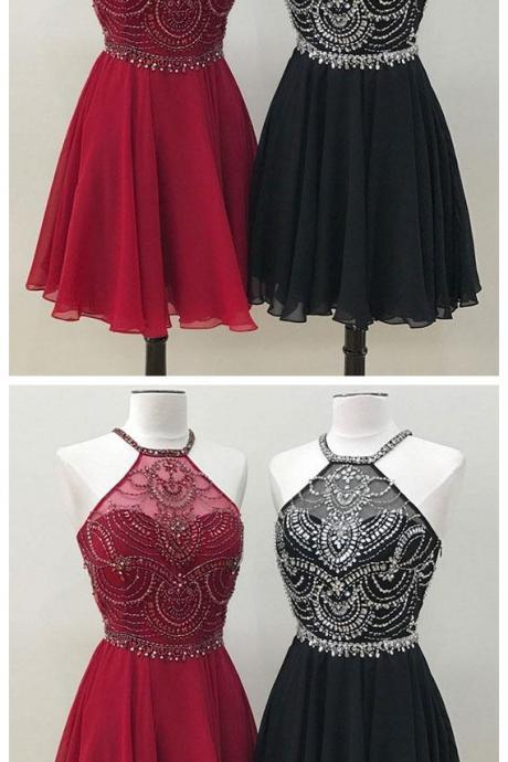 New Arrival Unique Beads Burgundy And Black Chiffon Short Prom Homecoming Dress, Sexy Mini Cocktail Dresses, Knee Length Mini Graduation Gowns , Sexy Gowns .