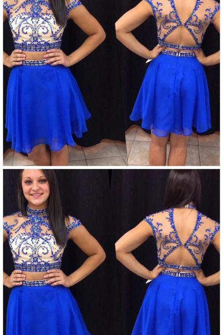 Royal Blue Homecoming Dress,Short Prom Dresses,Chiffon Homecoming Gowns,Fitted Party Dress,Silver Beading Prom Dresses,Sparkly Cocktail Dress,backless Homecoming Gown,Mini Party Gowns .