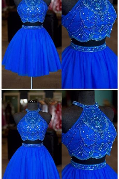 Real Photos Halter Neck Beaded Rhinestone Two Pieces Homecoming Dresses Sexy Backless A Line Tulle Short Prom Dresses,Royal Blue Short Cocktail Gowns .