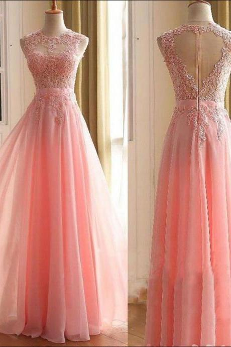 Charming Long Prom Dress, Appliques Pink Prom Dress,Chiffon A Line Prom Dress,Chiffon Prom Dress, Long Evening Dress,Women Formal Gown. Sexy Backless Wedding Party Gowns .
