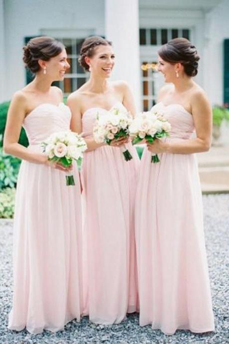 Pink Chiffon Long Bridesmaid Dresses, New Arrival Pleated Wedding Party Gowns ,A Line Women Gowns , Formal Girls Gowns , Off Shoulder Girls Party Gowns .