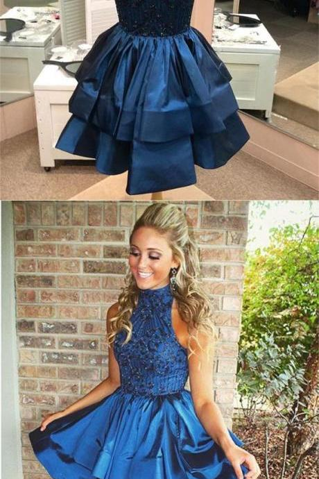 High Neck Homecoming Dresses,Above-knee Prom Dresses,Beaded Dark Blue Backless Party Dresses,Short Homecoming Party Dresses,Homecoming GownsNavy Blue Short Cocktail Dresses