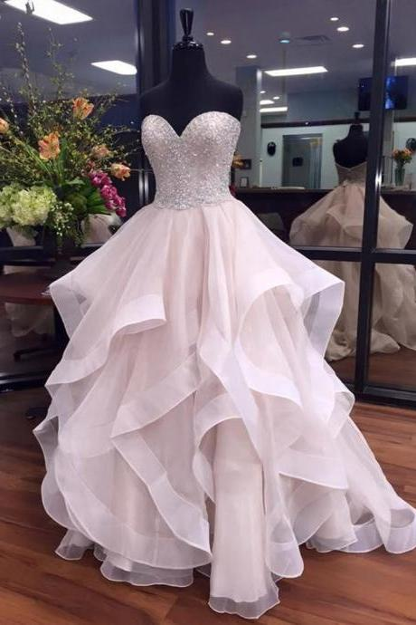 Ball Gown Sweetheart Organza Floor-length Beading Boutique Prom Dresses,Luxury Beaded Women Party Gowns , Skirts Tiers Long Prom Gowns , Beaded Party Gowns