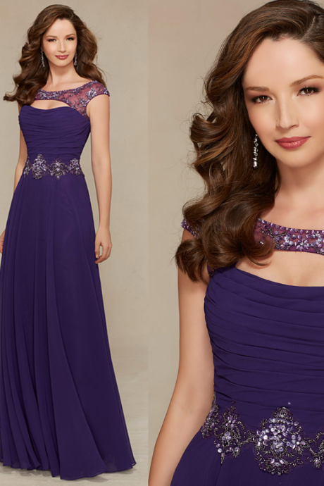 Vintage purple chiffon beaded long prom dresses, wedding party gowns , Plus Size Girls Pageant Gowns ,A Line Women Gowns , Beaded Evening Dresses .