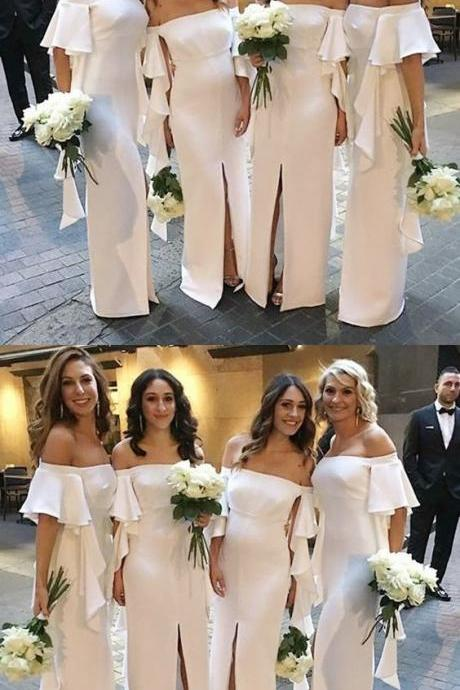 Mermaid Short Sleeve White Bridesmaid Dresses Front Slit 2018 Vintage Girls Party Gowns ,Wedding Women Party Gowns ,Cheap Chiffon Bridesmaid Gowns