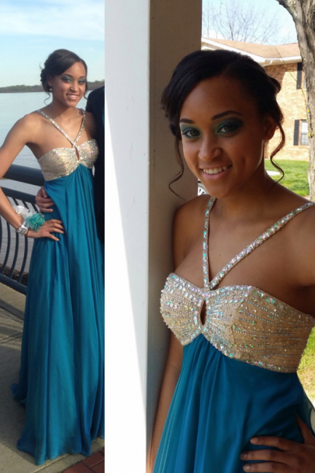 Charming Prom Dress,Chiffon Prom Dress,Beading Prom Dress,spaghetti strap Prom Dress,A-Line Prom Dress, Sexy Shiny Beaded Formal Evening Dresses, Custom Made Party Gowns .