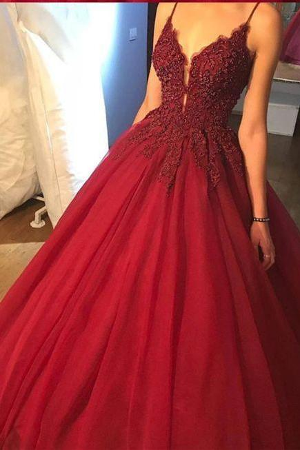 Luxury Beaded Satin Prom Dresses Spaghetti Straps Wine Red Pricess Prom Dresses ,Plus Size Wedding Party Gowns , Custom Made Women Pageant Gowns ,Formal Gowns .