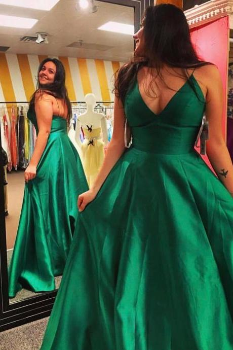 New Arrival V Neck Emerald Green Plus Size Prom Dress with Spaghetti Straps, A Line Women Party Gowns ,Long Prom Gowns ,Sexy Wedding Party Gowns ,Formal Gowns .