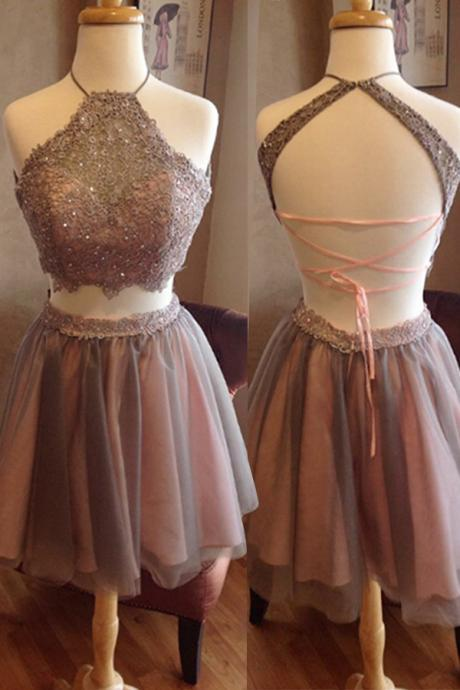 2 pieces homecoming dress short prom dress graduation dress,Luxury Beaded Short Prom Dress, Mini Cocktail Gowns , Wedding Party Gowns .Women Pageant Gowns .
