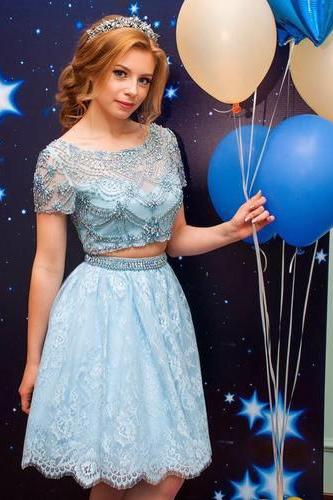 new arrival light blue short prom dresses , lace prom dress , shiny beaded mini cocktail dresses, Wedding Party Gowns ,Short Sleeve Graduation Dresses