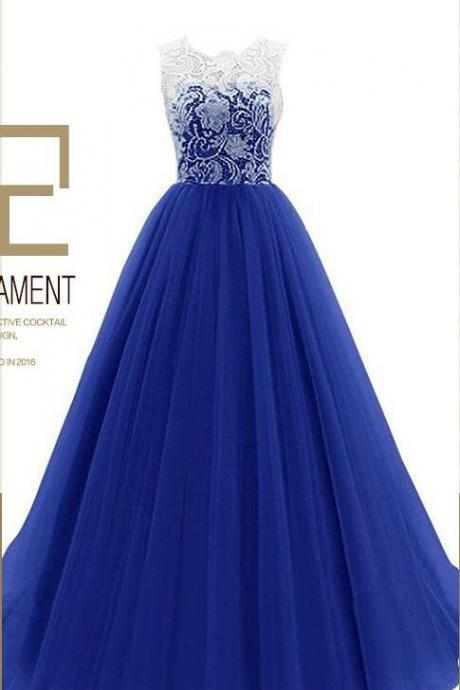 Blue Tulle Wedding Bridesmaid Dress Ball Gowns Prom Dresses , Lace Prom Dress, Strapless Long Bridesmaid Gowns ,Plus Size Women Gowns , Cheap Formal Gowns ,Wedding Summer Gowns .