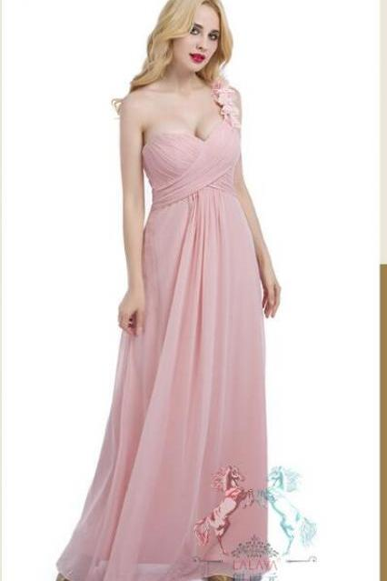 Light Pink One-Shoulder Ruched Chiffon A-line Floor-Length Bridesmaid Dress, Prom Gown, Formal Dress