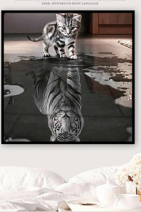 Size 40 x 50 cm Diamond Embroidery, Full,3D,Diy,Diamond Painting,Round,Rhinestone,Cross Stitch,Mosaic,Diamond Embroidery,Cat,Tiger,Animal,Crafts,Resin,Needlework