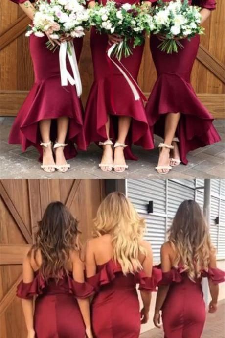 Simple Bugundy Mermaid Bridesmaid Dresses, Long Satin Bridesmaid Gowns , Plus Size Women Party Gowns , Sexy Formal Gowns ,Wedding Guest Gowns .
