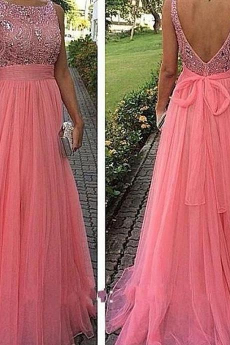 Sexy Back Open Long Prom Dresses Crystal Beaded Coral Tulle Wedding Prom Gowns, Scoop Evening Dress,Formal Gowns , Girls Pageant Gowns .