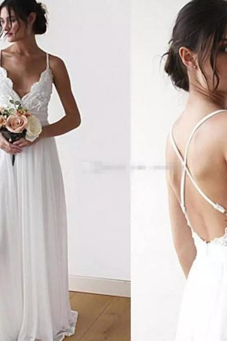Newest Boho Wedding Dresses Lace Chiffon Floor Length Backless Bridal Dresses Beach Wedding Dresses Bohemian Bridal Gowns