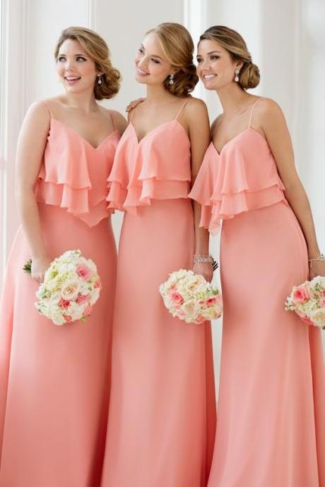 New Arrival Coral Chiffon Long Bridesmaid Dress Plus Size Women Party Gowns A Line Prom Dress , Long Prom Gowns , Off Shoulder Chiffon Gowns .