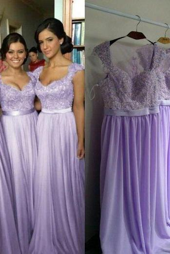 Lavender Chiffon Bridesmaid Dress Floor Length Wedding Guest Gowns Long Party Gowns ,Spaghetti Straps Lace Maid Of Honor Gowns