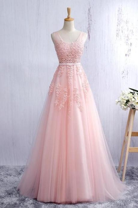 New Arrival Pink Tulle Prom Dresses Lace Prom Gowns Sexy V-Neck Appliqued Formal Party Gowns ,Floor Length Wedding Guest Gowns ,Long Evening Dress