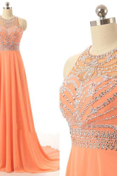Plus Size Orange Chiffon Beaded Women Prom Dresses, Strapless Ruffle Long Prom Gowns ,Sweep train Formal Evening Gowns ,Giirls Pageant Gowns