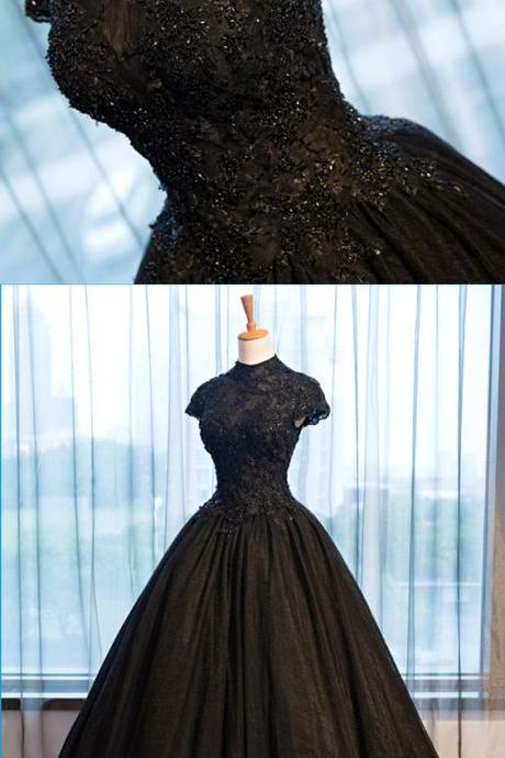 High Neck Caped Sleeve Black Tulle Prom Dresses Cheap Women Evening Gowns Plus Size Prom Gowns , Wedding Guest Gowns , Gitls Pageant Dresses