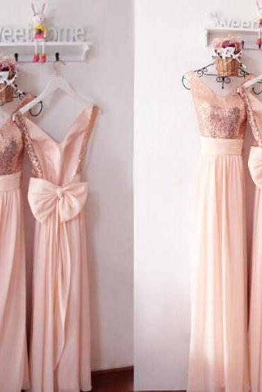 Rose Gold Long Bridesmaid Dress,.Sexy Backless Wedding Party Gowns ,Plus Size Bridesmaid Gowns .